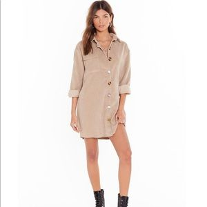 Button Down Corduroy Shirt Dress